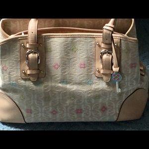 Fossil Signature Logo Cloth/Leather trim bag